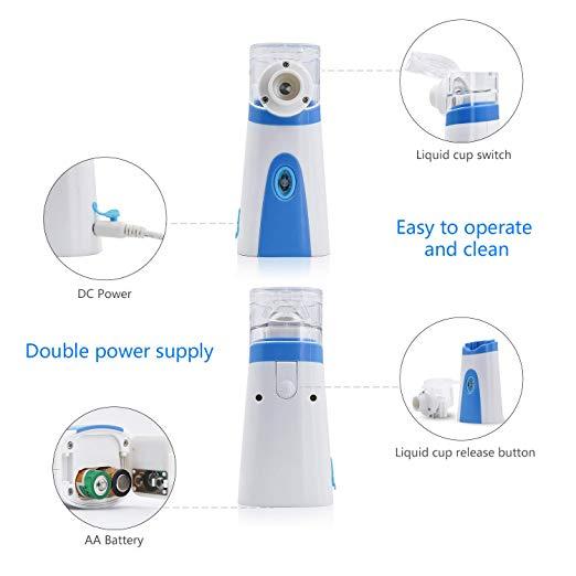 Pricare Portable Handheld BlueWhite Ultrasonic Mesh Inhaler 4